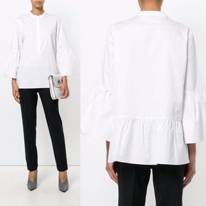 Tibi Satin Poplin Button Up Bell Sleeve Cotton Top